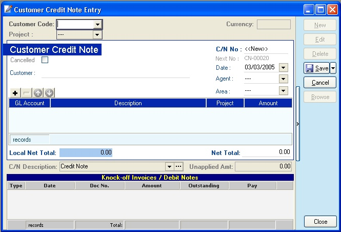 Customer Credit Note